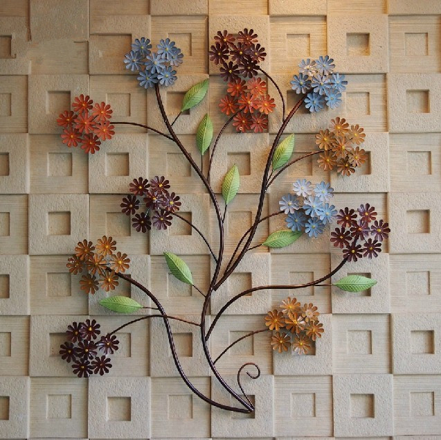 Modern Home Decoration Creative Metal Wall Art Hand Made Colorful Flowers As Decor
