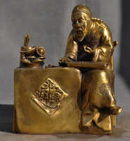 Details about Chinese brass Miraculous Foresight Old Man Abacus Bat Yuan Bao Statue