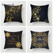 Fuwatacchi Golden Black Printed Cushion Cover Christmas Tree Pillow Star Snow Floral  Decorative Pillowcase for Home Sofa