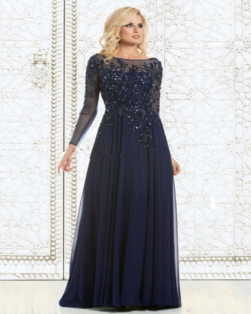 2019 Navy Blue Evening Dress Mother Of The Bride Dress Sequined Applique Chiffon Long Evening Gown