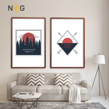 NOOG Nordic Sunset Landscape Posters And Print Black Red Minimalist Wall Art Canvas Painting For Living Room Decoration