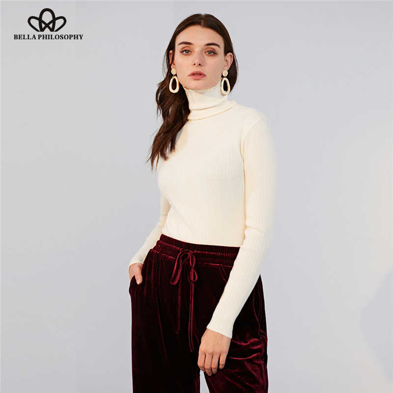 Bella Philosophy 2019 Winter New Slim Sweater Turtleneck Strechy Women Sweater casual full sleeves Knitted Ladies Pullovers