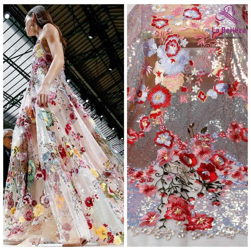 La Belleza جميلة 2019 معظم أقمشة الدانتيل الساخن مختلط اللون مع AB الترتر التطريز فستان من نسيج الدانتيل 1 ياردة