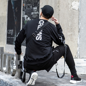 Image 2 - Autumn men personality lace up punk rock hip hop hoodie oversized streetwear men harajuku nightclub DJ stage crewneck sweatshirt