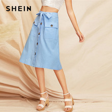 b126340231 SHEIN Boho Blue Button Front Dual Flap Pocket Belted A Line Midi Skirt  Women 2019 Spring Morden Lady Elegant Mid Waist Bottoms