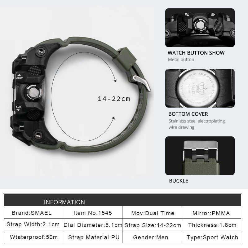 גברים צבאי שעון 50m עמיד למים שעוני יד LED קוורץ שעון ספורט שעון זכר relogios masculino 1545 ספורט שעון גברים S הלם