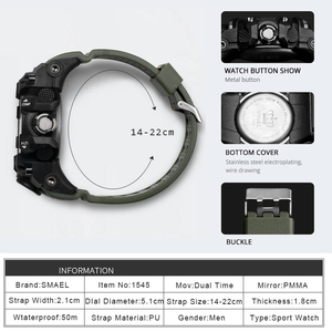 Image 3 - Men Military Watch 50m Waterproof Wristwatch LED Quartz Clock Sport Watch Male relogios masculino 1545 Sport Watch Men S Shock