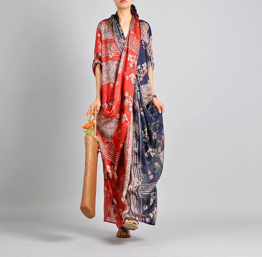 Kobiety wiosna lato Casual Patchwork drukowane Tencil sukienka Retro sukienka kobiet w stylu Vintage drukuj lato druku syrenka krzyż sukienka 2019 w Suknie od Odzież damska na  Grupa 1