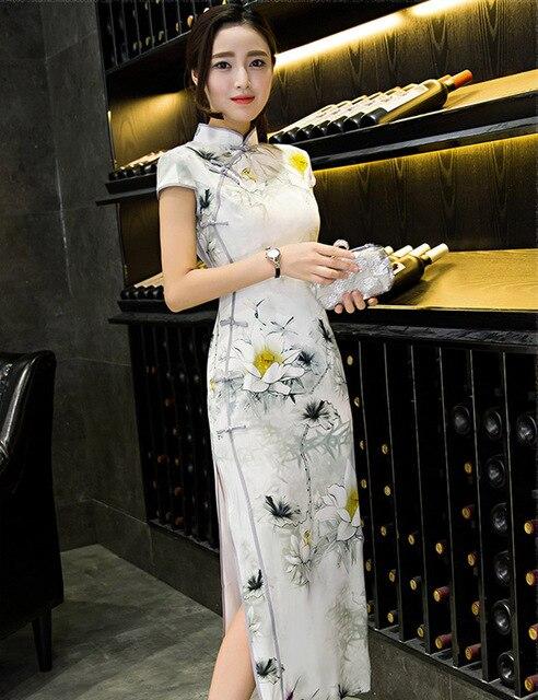 Traditional Chinese Clothing Cheongsams Female Vintage Silk Cheongsam Slim Qipao