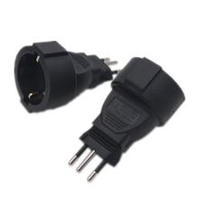 2Pcs 3Pin Swiss Socket adaptor Embedded EU German Plug Adapter Converter  Plugs Turn To