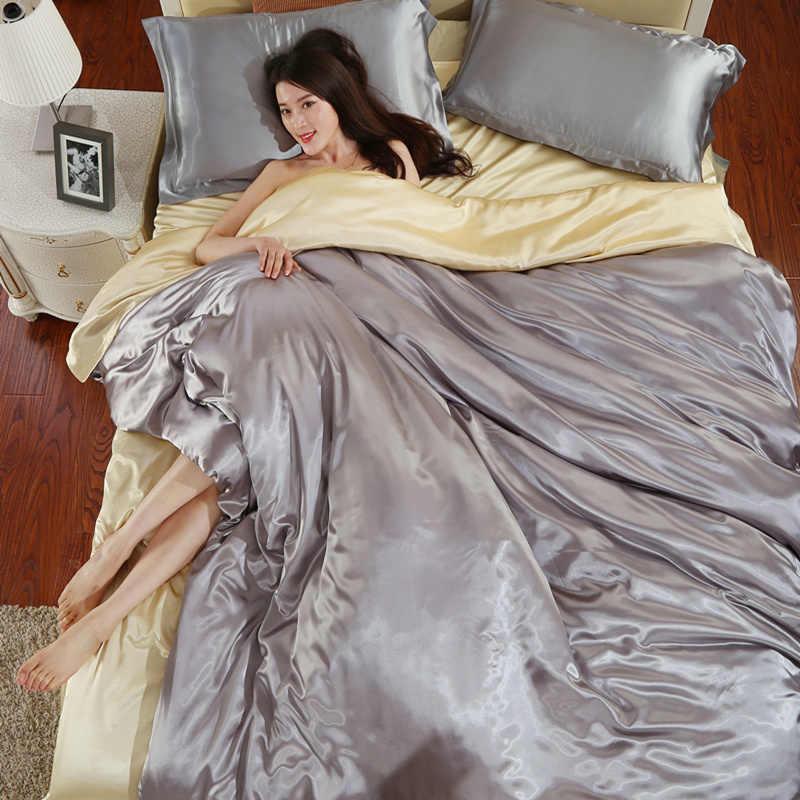 HOT! 100% pure satin silk bedding set,Home Textile King size bed set,bedclothes,duvet cover flat sheet pillowcases 70