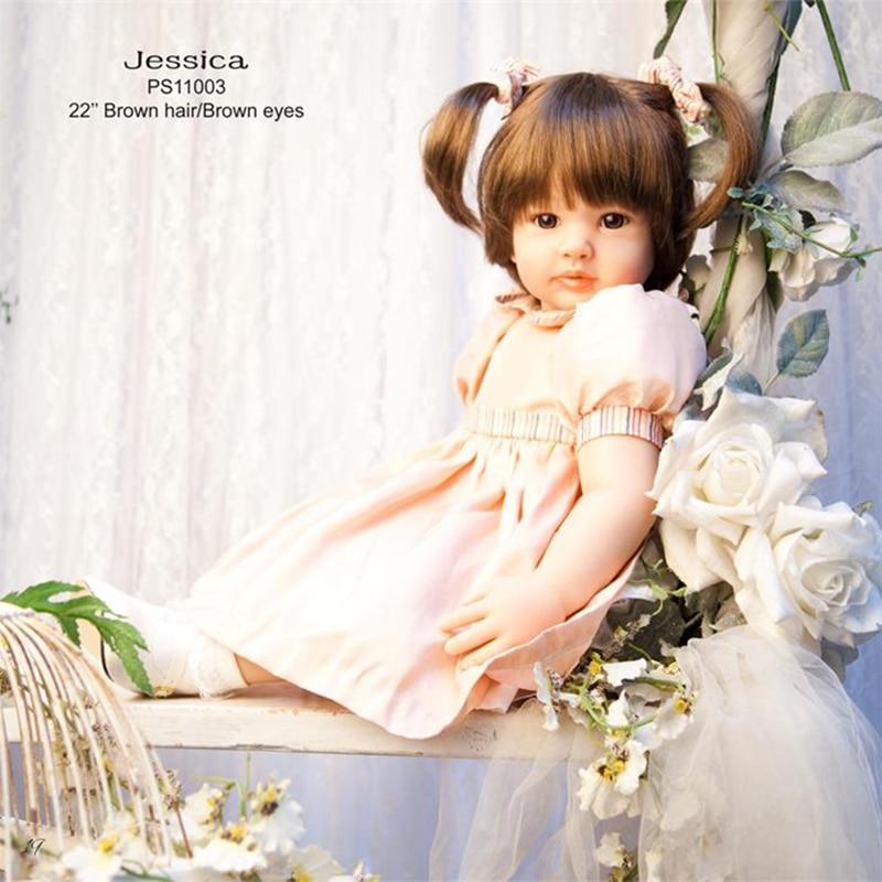 55cm Realistic Silicone Reborn Dolls Toddler Vinyl Dolls Brinquedos Boutique Gift Handmade PP Cotton Body Boneca Reborn Realista
