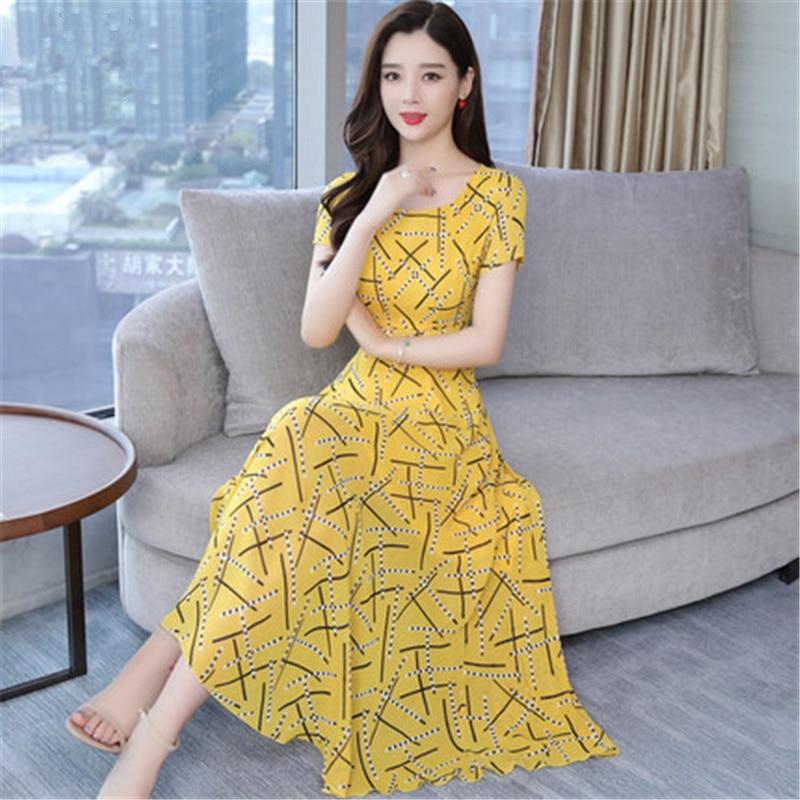 2019 nouvelle robe en mousseline de soie été femmes Vintage grande taille Slim à manches courtes parti imprimé robe femme Maxi robes N627