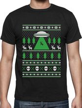 2017 Newest Fashion Men'S Crew Neck Short Sleeve Christmas Alien Reindeer Abduction Ugly Christmas Sweater Xmas Shirt