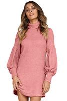 fashion Autumn winter simple women high street Turtleneck Long Sleeve Bodycon Pink Corduroy Ribbed High Neck Mini Dress 220533