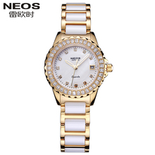 NEOS 2017 luxury noble ceramic bracelet watch fashion waterproof quartz watch ladies watch Clock Faux Diamond