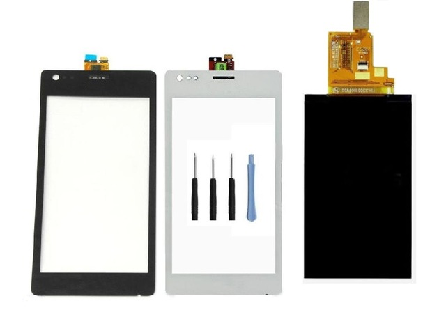 Para sony xperia m c1904 c1905 lcd display + frente Tela de toque Painel de Digitador de Vidro Sensor + Adesivo + Livre ferramentas