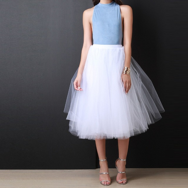 a1f4e4977 Top Quality Pure White Tutu Skirt A Line Tee Length Midi Skirt Custom Made  Puffy Layers Tulle Skirts Women Simple Casual Style