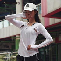 2018 Brand Black Women Sportswear Quick Dry Sexy Yoga T Shirts Cut Out Gym Shirt Fitness