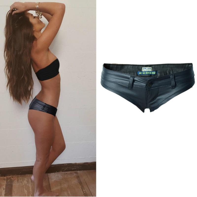 Europe America Nightclub Sexy Shorts Women PU Leather Black Pole Dance Pantalones Cortos Mujer Low Waist Push Up Shorts Mujer