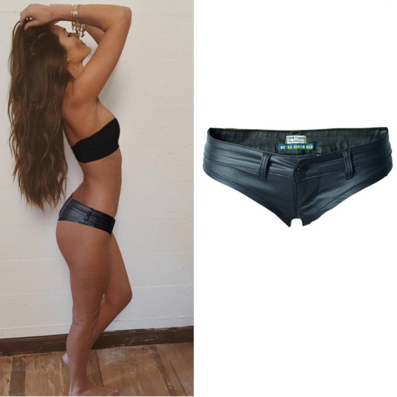 Europe America Nightclub Sexy   Shorts   Women PU Leather Black Pole Dance Pantalones Cortos Mujer Low Waist Push Up   Shorts   Mujer