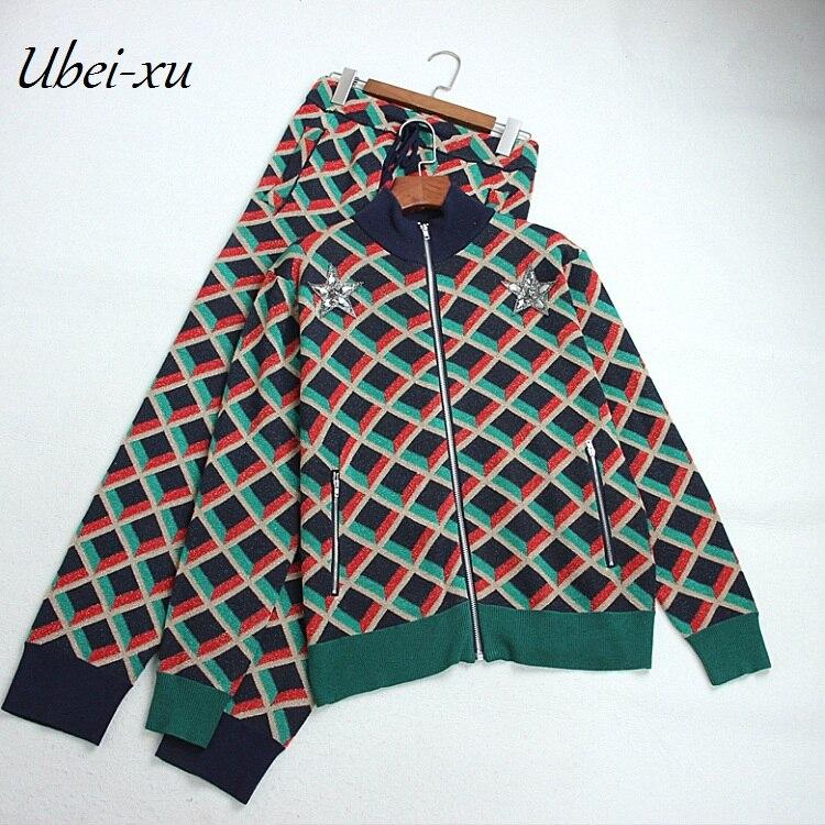 Ubei2018New Autumn Women semi turtleneck star beading patchwork knitted zipper jacket pocket pants plaid print casual