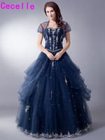Mid Night Blue Long Vintage Ball Gown Prom Dresses For Seniors With Jacket Tulle Princess Full