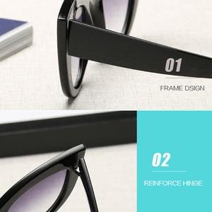 Image 4 - Gafas de sol de ojo de gato Vintage de 2019 para mujer gafas de sol redondas grandes para damas espejo Cateye gafas de mujer de marca de diseñador