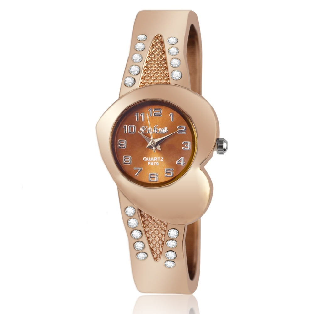 2016 new watch creative fashion lady love rose gold bracelet watch Korea version of the trend