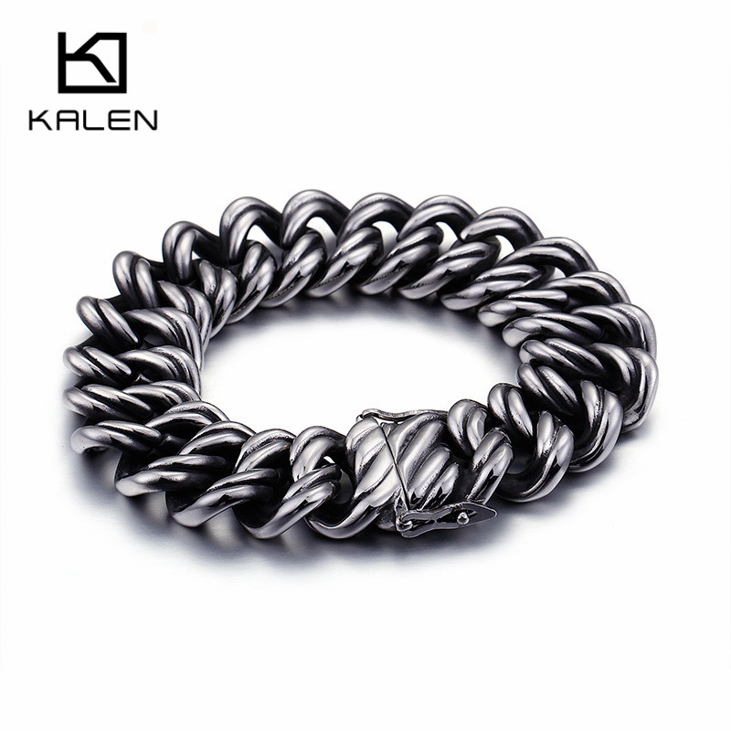 KALEN 2018 Neo-Gothic 316 Stainless Steel Link Chain Bracelets For Men Rock High Quality Hand Chain Bracelets For Drop Shipping candy coloured string hand chain bracelets