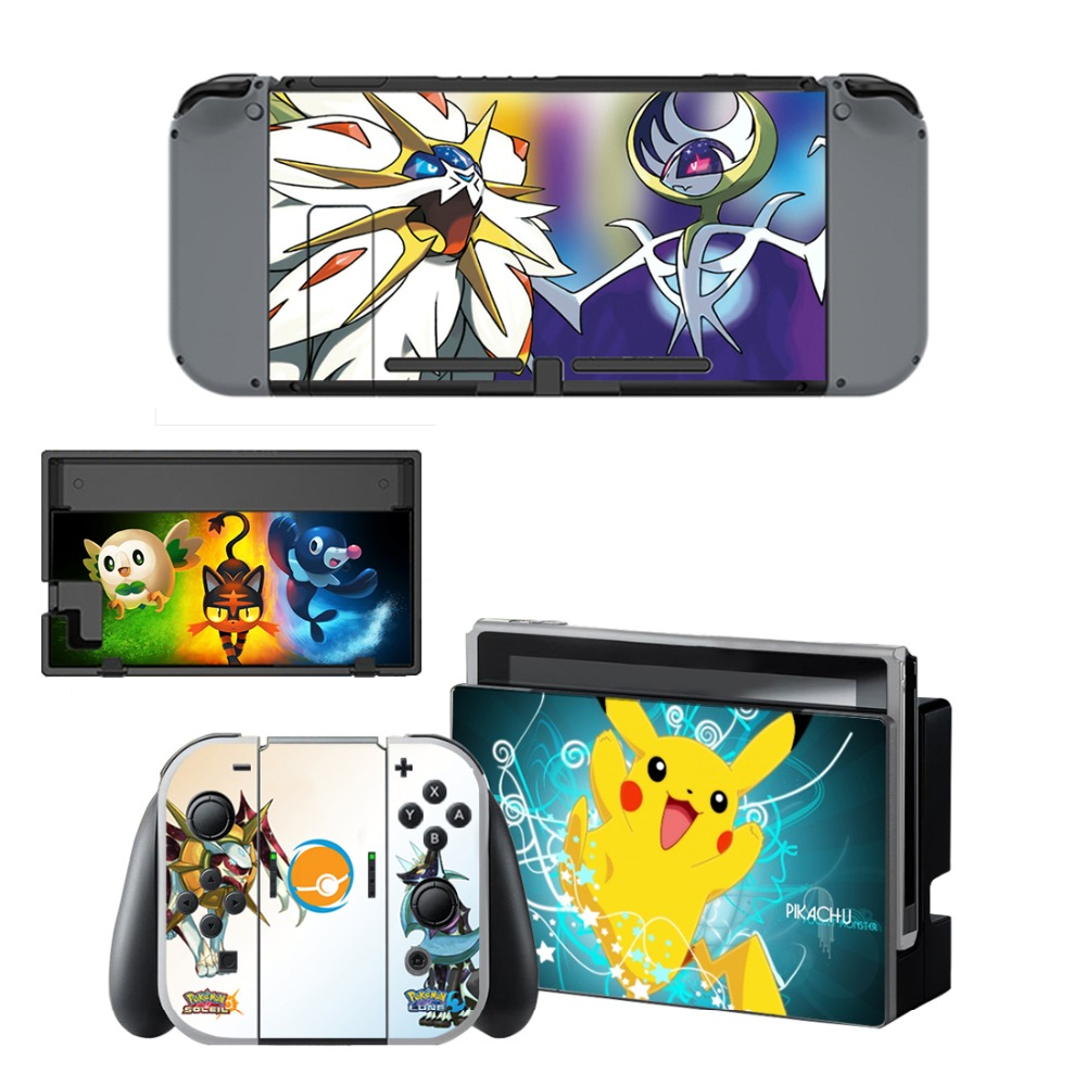 For Pokemon GO Pikachu Decal Vinyl Skin Sticker for Nintendo Switch NS Console Controller Stand Holder Protective Film in Stickers from Consumer Electronics