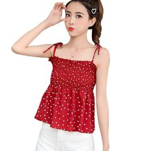 Women's Summer Tops Spaghetti Strap Dot Print Top Women Lace Up Ruched Camisole Chiffon womens tops Ladies' clothes(China)