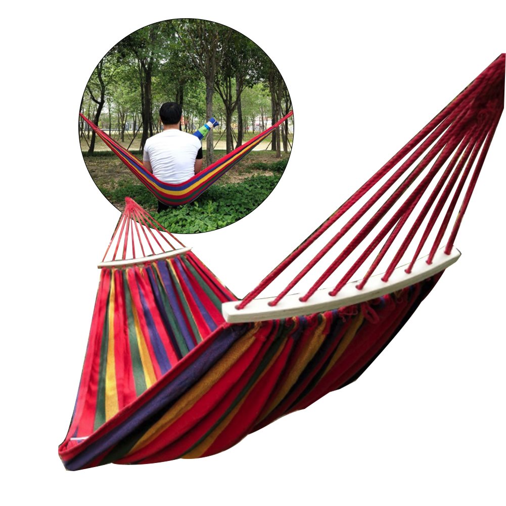 New 260*150cm 2 People Outdoor Canvas Camping Hammock Bend Wood Stick Steady Hamak Garden Swing Hanging Chair Hangmat Blue Red
