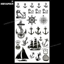 SHNAPIGN Marine Pirate Anchor Temporary Tattoo Body Art Arm Flash Tattoo Stickers 17x10cm Waterproof Fake Henna Painless Sticker