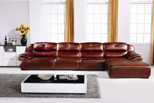 Hot Luxury Italian Top Grain Leather Smart High Back L Shaped Sofa Low