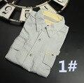 Homens Camisa Ocasional Marca 2016 Secagem rápida UPF30 Plus Size Euro XXL Multi-bolso Ferramental Ocasional longo-Camisas de manga Cinza Claro