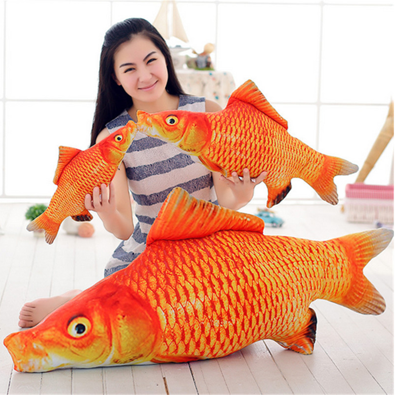 Fancytrader New Stuffed 120cm Giant Goldfish  Plush Toy Big Soft Animal Carp Good Luck Red Fish 47inches Doll Pillow Kids Gift fancytrader new style giant plush stuffed kids toys lovely rubber duck 39 100cm yellow rubber duck free shipping ft90122
