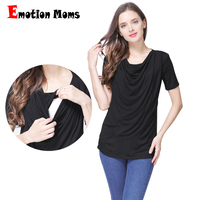 Emotion Moms Modal Short Sleeve Maternity Clothes Summer Maternity T Shirt Breastfeeding Tops For Pregnant Women
