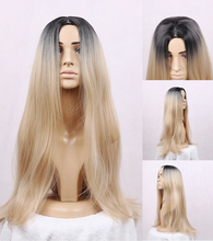 HOT!!  Fashion Ombre Blonde Long straight wig Synthetic Wig Fulll Glueless Short Brown Root Blonde Heat Resistant Hair Women Wig