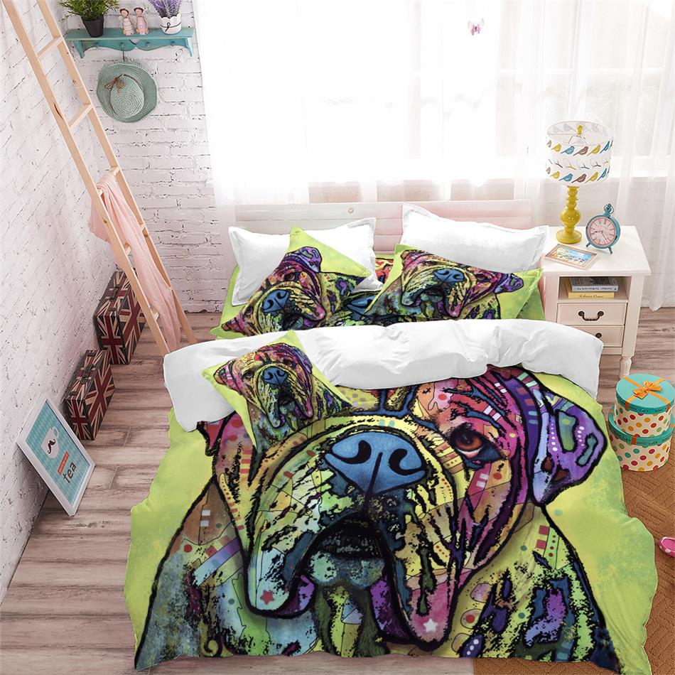 Multi-Color Animal Bedding Set Watercolor Dog Cat Print Duvet Cover Polyester Bedclothes Kids Pillowcase Home Decor