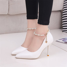 Elegant Ladies Shinning Glitter White Pink Pumps 2019 Sexy Pointed Toe High Heels Ankle Strap Wedding Party Shoes Woman new hot selling glitter embellished high heel shoes 2018 sexy pointed toe ankle strap woman pumps crystal wedding heels