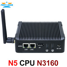 Причастником N5 Intel Quad Core N3160 монтажным Мини-ПК без вентилятора с двумя LAN двойной hdmi, dp Порты