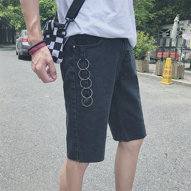 2018 Spring And Summer New Mens Solid Color Simple Jeans Casual Business Personality Shorts Wild Fashion Students