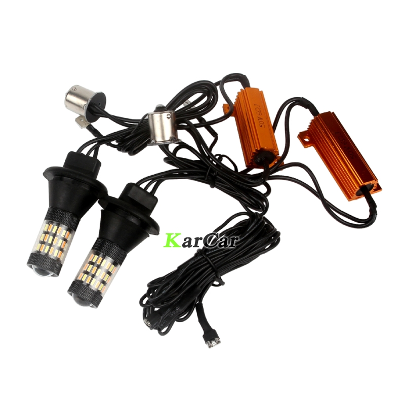 2x PY21W BAU15S LED Canbus Error Free Turn Signal Bulb Dual Color White Amber Yellow 1156 4014 60SMD DRL Lights 150 degree ijdm amber yellow error free 2835 led 1156 p21w led bulbs for car front or rear turn signal lights daytime running lights