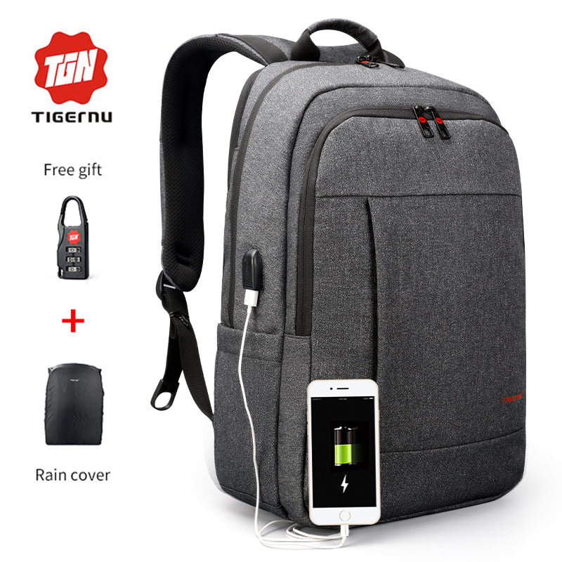 2018 Tigernu Anti-theft USB charging Men 15.6inch Laptop Backpack Women Backpack Mochila School Backpack Bag Casual Laptop Bag