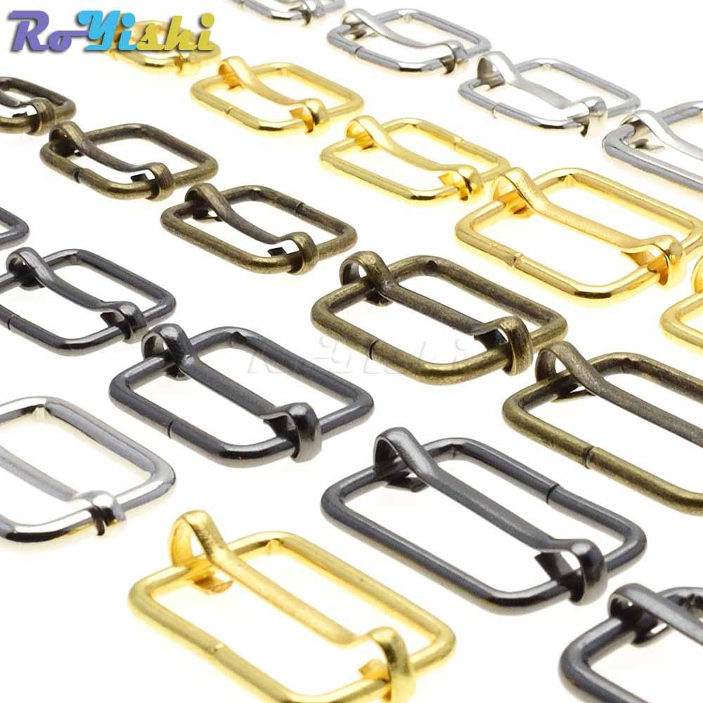 10pcs/pack Metal Slides Tri-Glides Wire-Formed Roller Pin Buckles Strap Slider Adjuster Buckles
