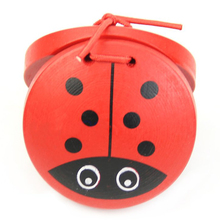 1pc Kid Children Cartoon Wooden Castanet Toy Musical Percussion Instrument