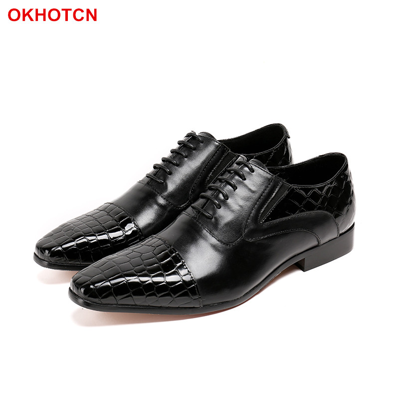 OKHOTCN crocodile Genuine Leather Men's Wedding Brogue Shoes Wingtip Lace Up shoes Black Office Party Formal Oxford Dress Shoes