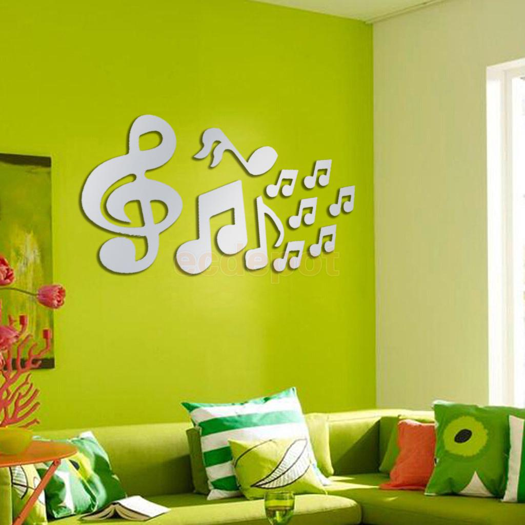 10pcs Music Notes Mirror Removable Decal Art Mural Wall Sticker Home ...