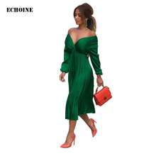 Echoine V-neck Long Sleeve Black Satin Dress Slim Elegant Pleated Dresses Femme Robe Ladies Party Vestidos Sundress 2019